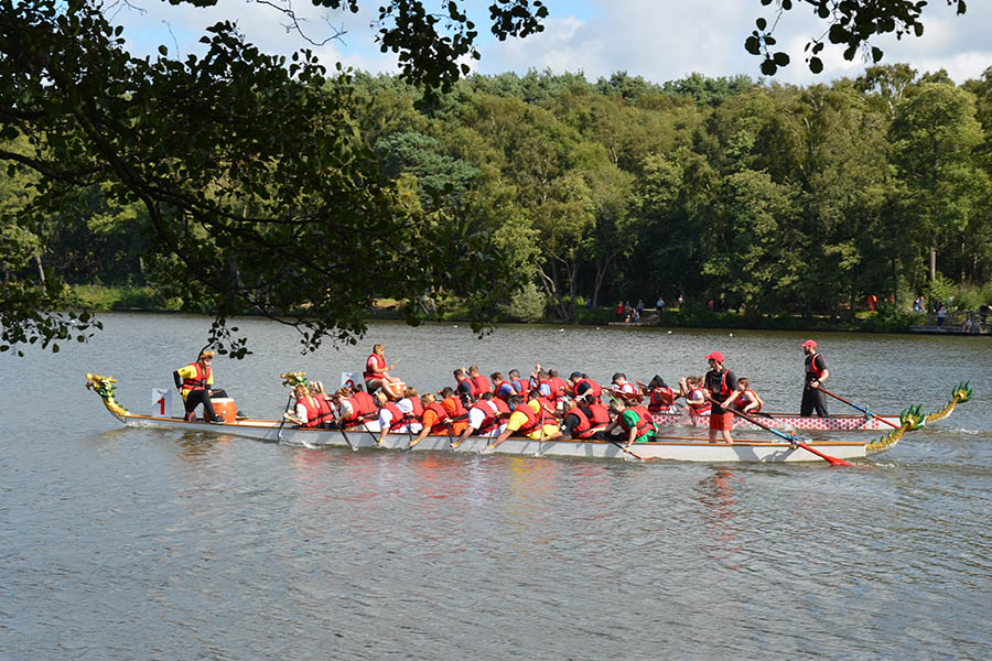 Thakeham Lions in the boat at the St Catherine's Dragon Boat Festival